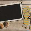 Photo Frame on Wooden Boardwalk with Sand — Stock Photo