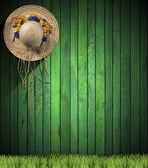 Straw Hat hanging on Green Wood Wall — Stock Photo