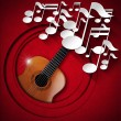 Acoustic Guitar and Note Background - Red Velvet — Zdjęcie stockowe