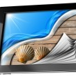 Sea Holiday in Tablet Computer with Pages — Stock Photo #36443107
