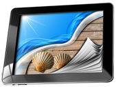 Sea Holiday in Tablet Computer with Pages — Stok fotoğraf