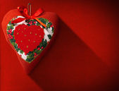 Christmas Heart Decoration on Red Velvet — Stock Photo