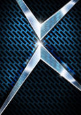 Blue and Metal Background with Grid — Stock Photo
