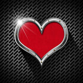 Metal Heart on a Dark Grid — Stock Photo