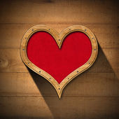 Wooden Heart on Wood Wall — Stock Photo