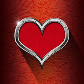 Metal Heart on Floral Background — Stok fotoğraf