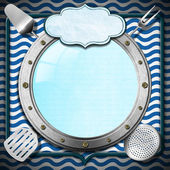 Seafood Menu with Metal Porthole — 图库照片