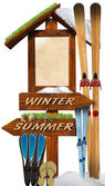 Summer Winter Wooden Signage — Stock Photo