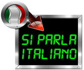 Si Parla Italiano (Italian is spoken) - Metal Billboard — Stock fotografie