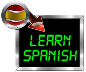 Learn Spanish - Metal Billboard — Stock Photo
