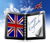 Nauka angielskiego - komputer typu tablet — Zdjęcie stockowe