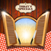 Today's Specials - Menu on Wooden Window — Stock Photo