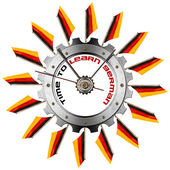 Time to Learn German - Metallic Gear — Stock Photo