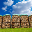 Pile of Chopped Firewood on Blue Sky — Stock Photo #46839125
