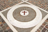 Porphyry Stone Floor with Marble Cross — Stock Photo