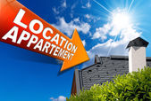 Location Appartement (in French) - Arrow Sign — Stock Photo
