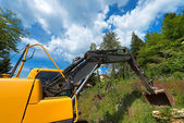 Yellow and Black Excavator Machine — Stock Photo