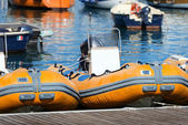 Rubber Motor Boats Rental — Stock Photo