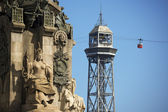 Cableway to Montjuic - Barcelona Spain — Stock Photo