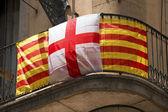 Catalonia and Barcelona Flag - Spain — Stock Photo