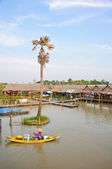 Rowboat in the floating market — Stock Photo