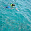 Stock Photo: Traveler snorkeling take photo in cleocean