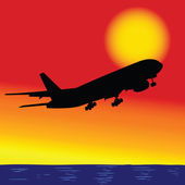Aircraft in flight over the ocean — Stock vektor