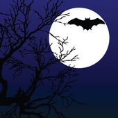 Bat fly on the moonlight with tree illustration — Stock Vector