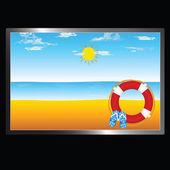 Playa con sol y fracaso de tirón de ilustración — Vector de stock