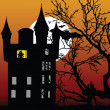 Stock Vector: Castle in twilight with bat
