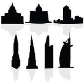 Buildings art black vector silhouette — Stockvektor