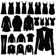 Clothing in black vector silhouette — Stock Vector #39332013