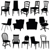 Chair art vector illustration in black color — Stock Vector