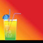 Cocktail and red background — Vettoriale Stock