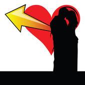 Couple with heart illustration — Stockvektor