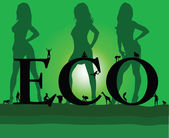 Eco with three sexy green girl — Stock Vector