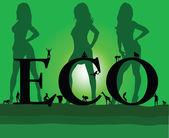 Eco with three sexy green girl — Stock vektor