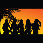 Five girls silhouette — Stockvektor