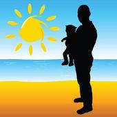 Padre con un bebé en la playa — Vector de stock