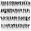Girl in various poses black vector silhouette — Stock Vector #39396917