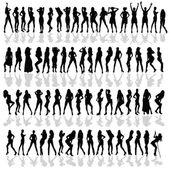 Girl in various poses black vector silhouette — Stock Vector