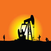 Oil well color vector — Stock Vector