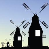 Windmill three vector in black — Vetorial Stock