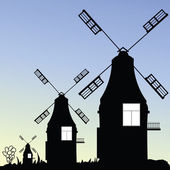 Windmill three vector in black — 图库矢量图片