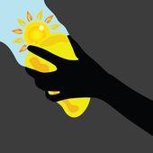 Czyszczenie gąbki żółta z słońce ilustracja okien — Wektor stockowy