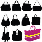 女性ファッション バッグ ブラック シルエット — ストックベクタ