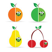 Worm in fruit color vector illustration — Stockvector