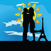 Young couple kissing in front of the tower — Stock Vector