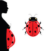 Pregnant woman with belly and illustration ladybug — Stock Vector