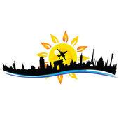 Travel city building sign illustration — Stock Vector